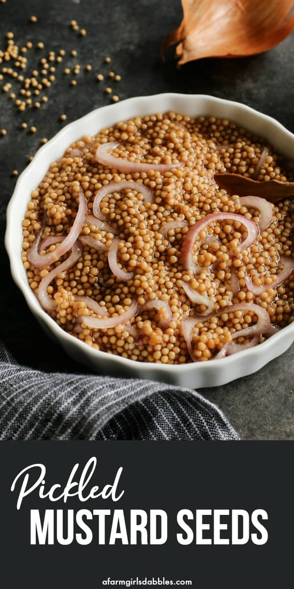 Pickled Mustard Seeds from afarmgirlsdabbles.com - This homemade condiment is an easy way to add bold, bright flavor to sandwiches, dressings, and dips. It literally pops with flavor and texture! #mustard #seed #seeds #mustardseeds #condiment