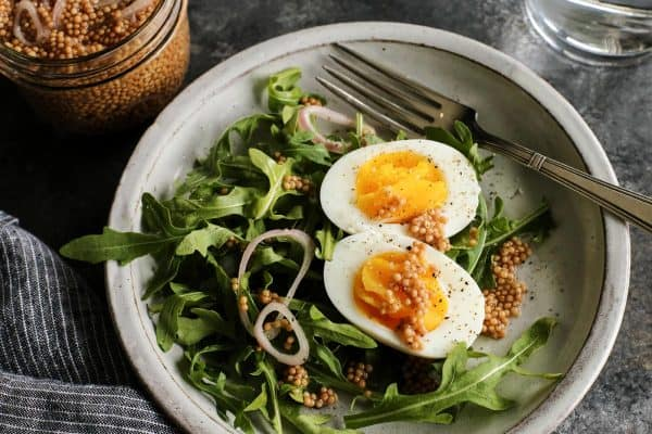 eggs with pickled mustard seeds