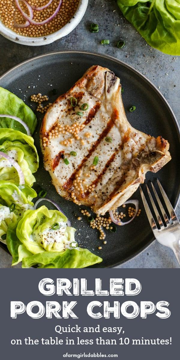 pinterest image of Easy Grilled Pork Chops