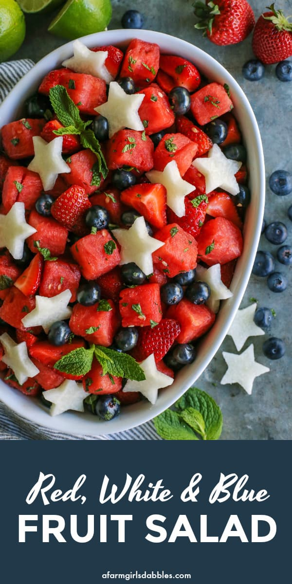 Mojito Fruit Salad from afarmgirlsdabbles.com - This fruit salad recipe has summer written all over it, with cubes of juicy watermelon and sweet strawberries and blueberries. With a nod to the mojito, the fruit is tossed with a sweet mint and lime mixture. Rum is optional. Add jicama stars for a red, white, and blue fruit salad! #fruit #salad #watermelon #strawberries #blueberries #mint #lime #mojito #red #white #blue #patriot #4thofjuly