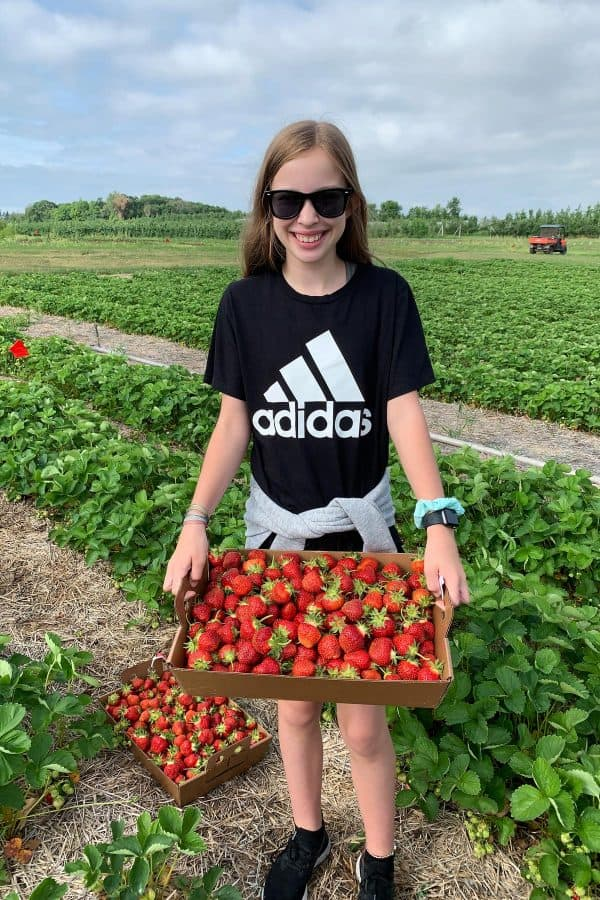 a girl holding a box of fresh strawberries