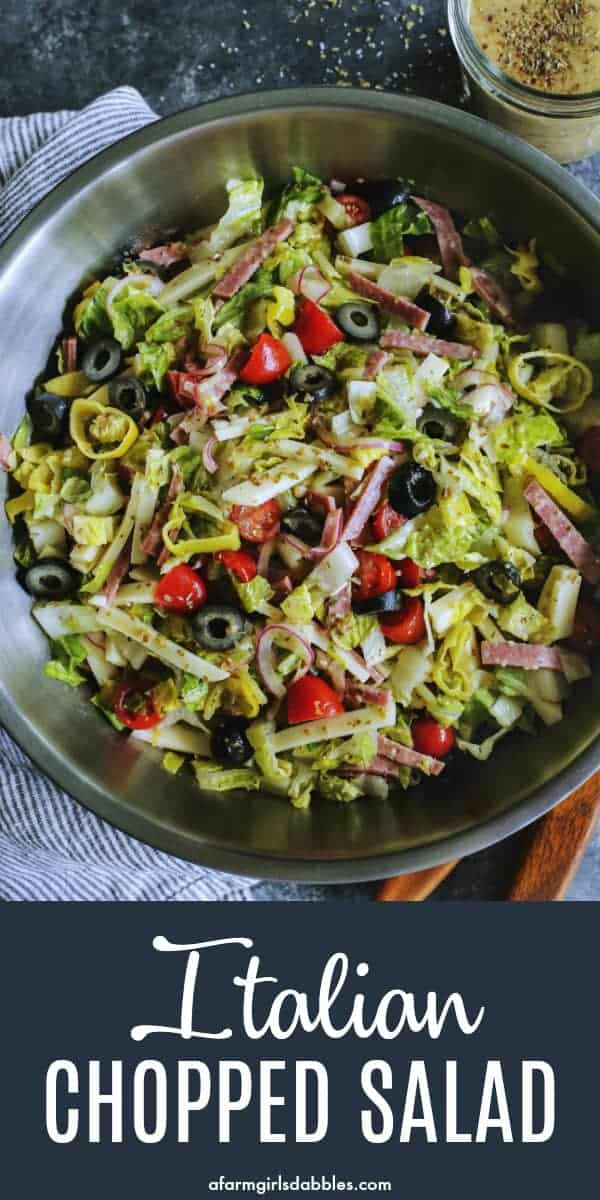 pinterest image of Italian chopped salad in a large bowl
