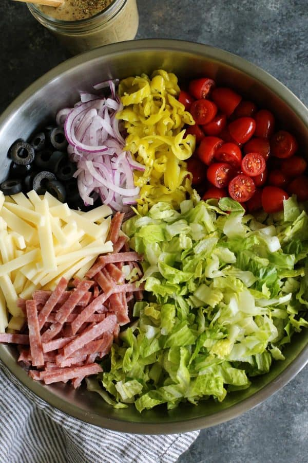 Italian chopped salad ingredients in a bowl