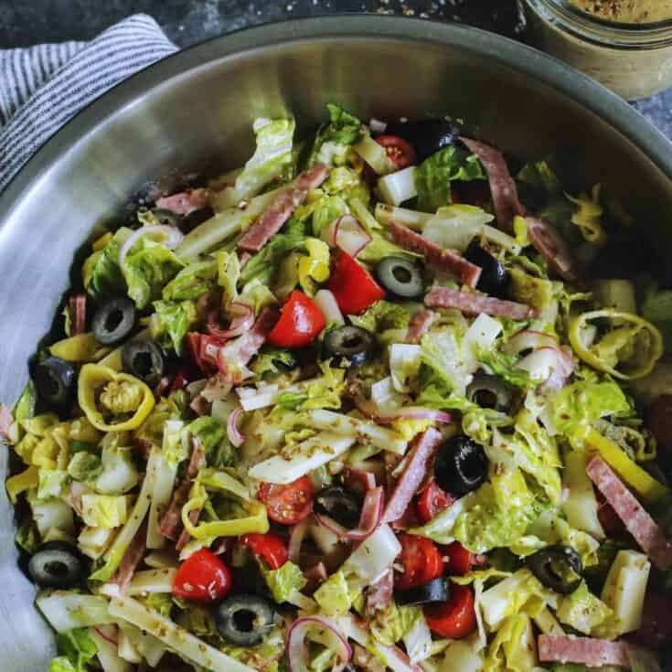 Italian chopped salad in a large bowl