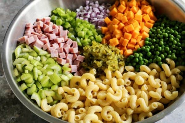 ingredients for creamy macaroni salad