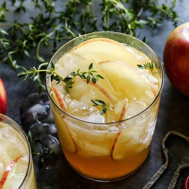 two glasses of apple sangria