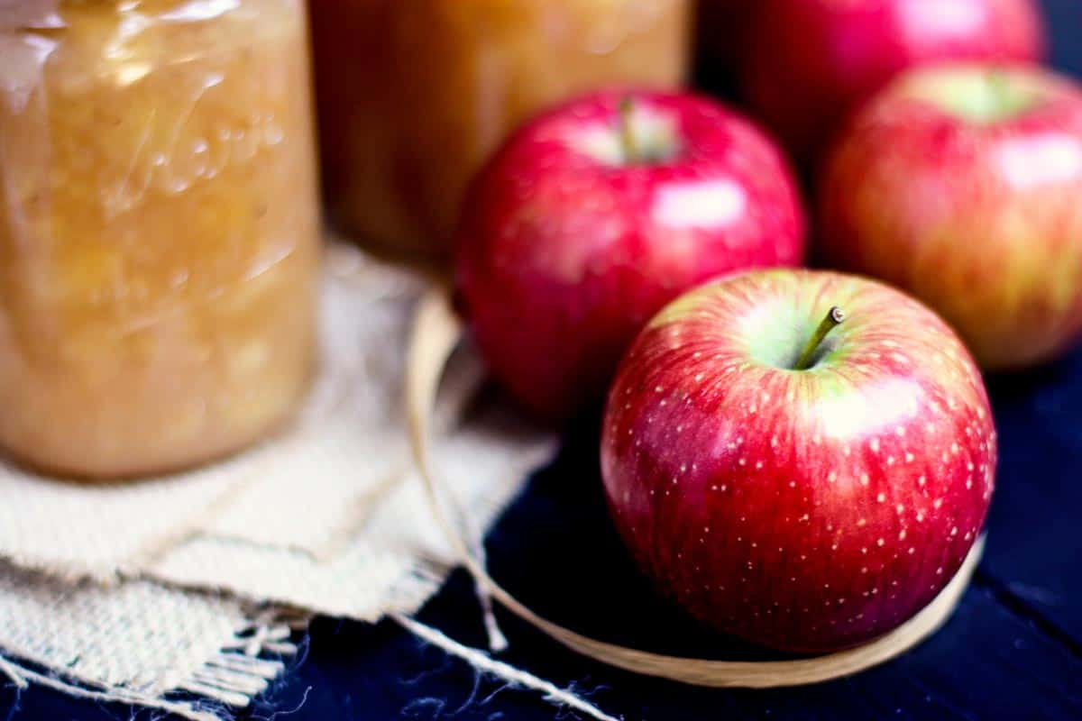 Haralson apples and jars of homemade applesauce
