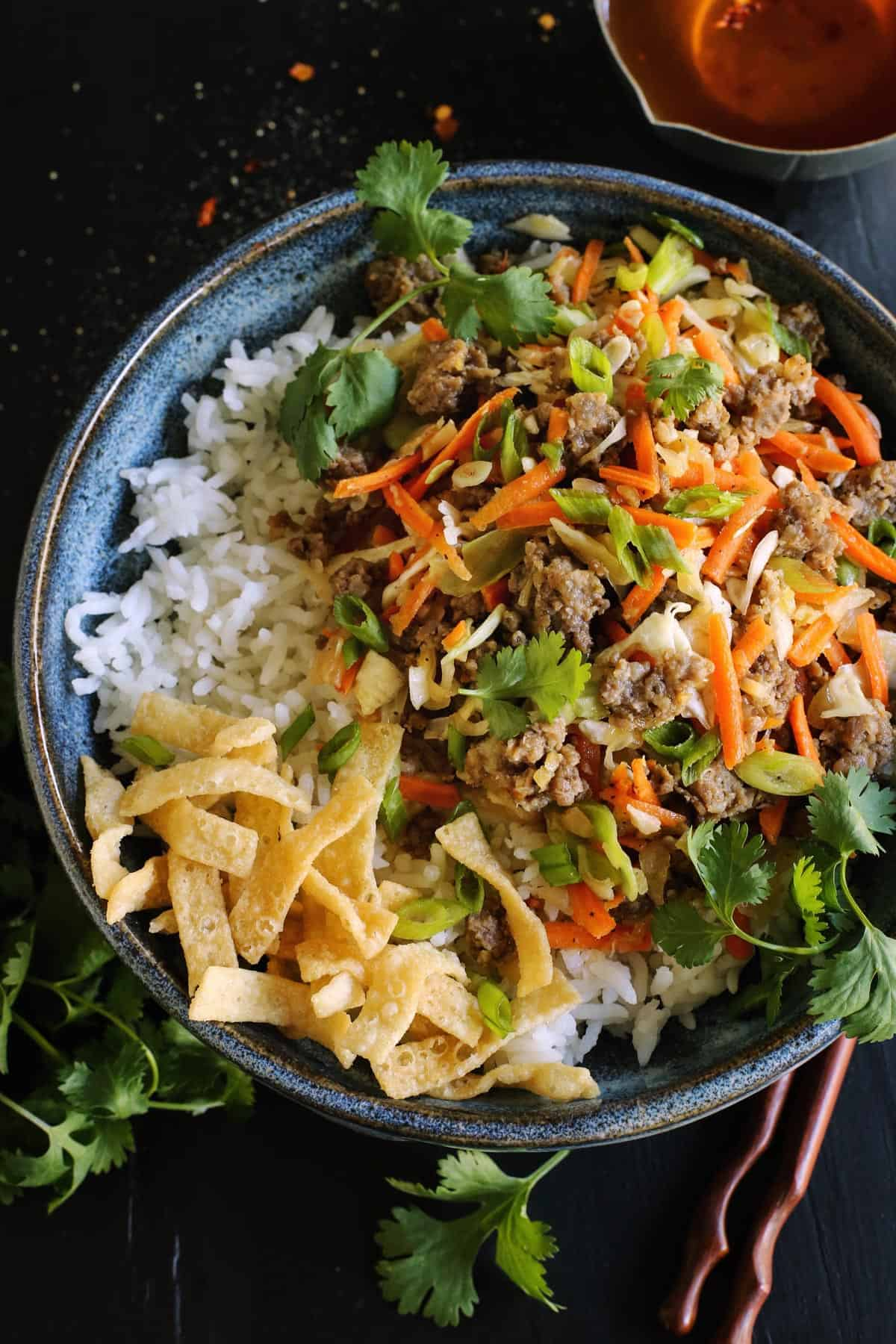 egg roll in a bowl recipe, with ground pork, cabbage, and carrots