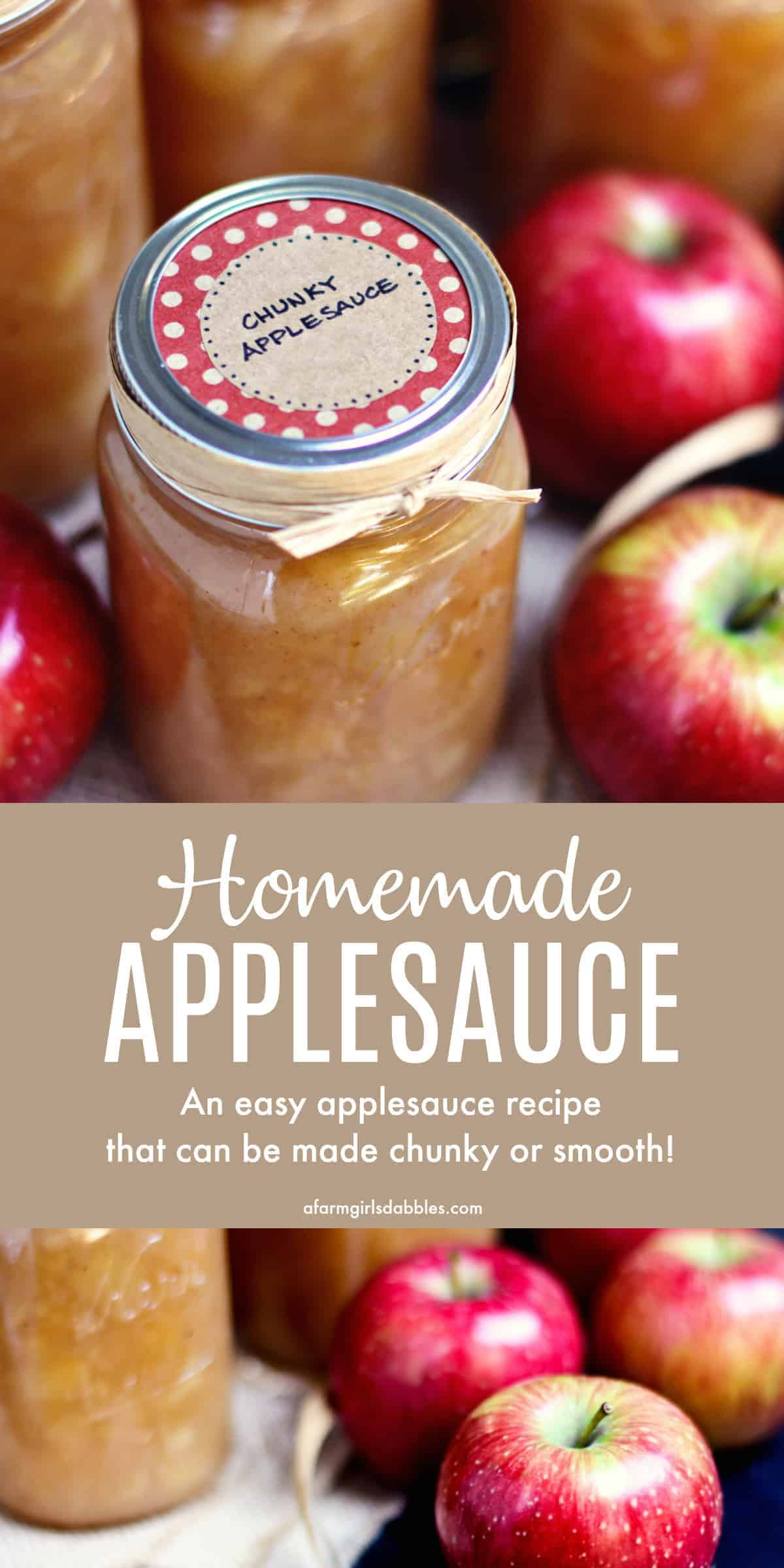 pinterest image of homemade applesauce in jars with apples