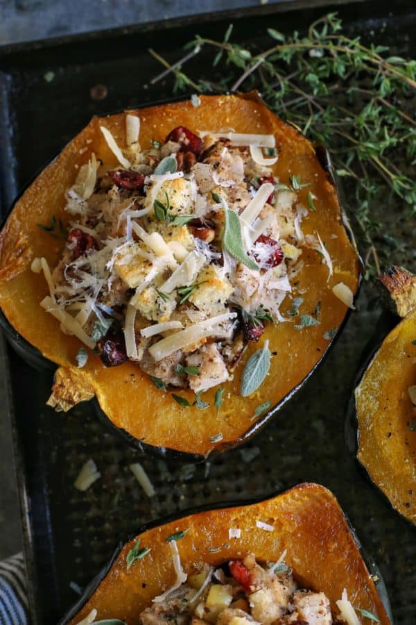 acorn squash halves stuffed with turkey dinner