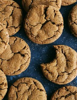 a batch of ginger cookies with molasses