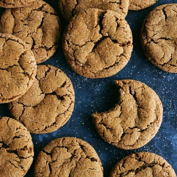 a batch of chewy ginger cookies