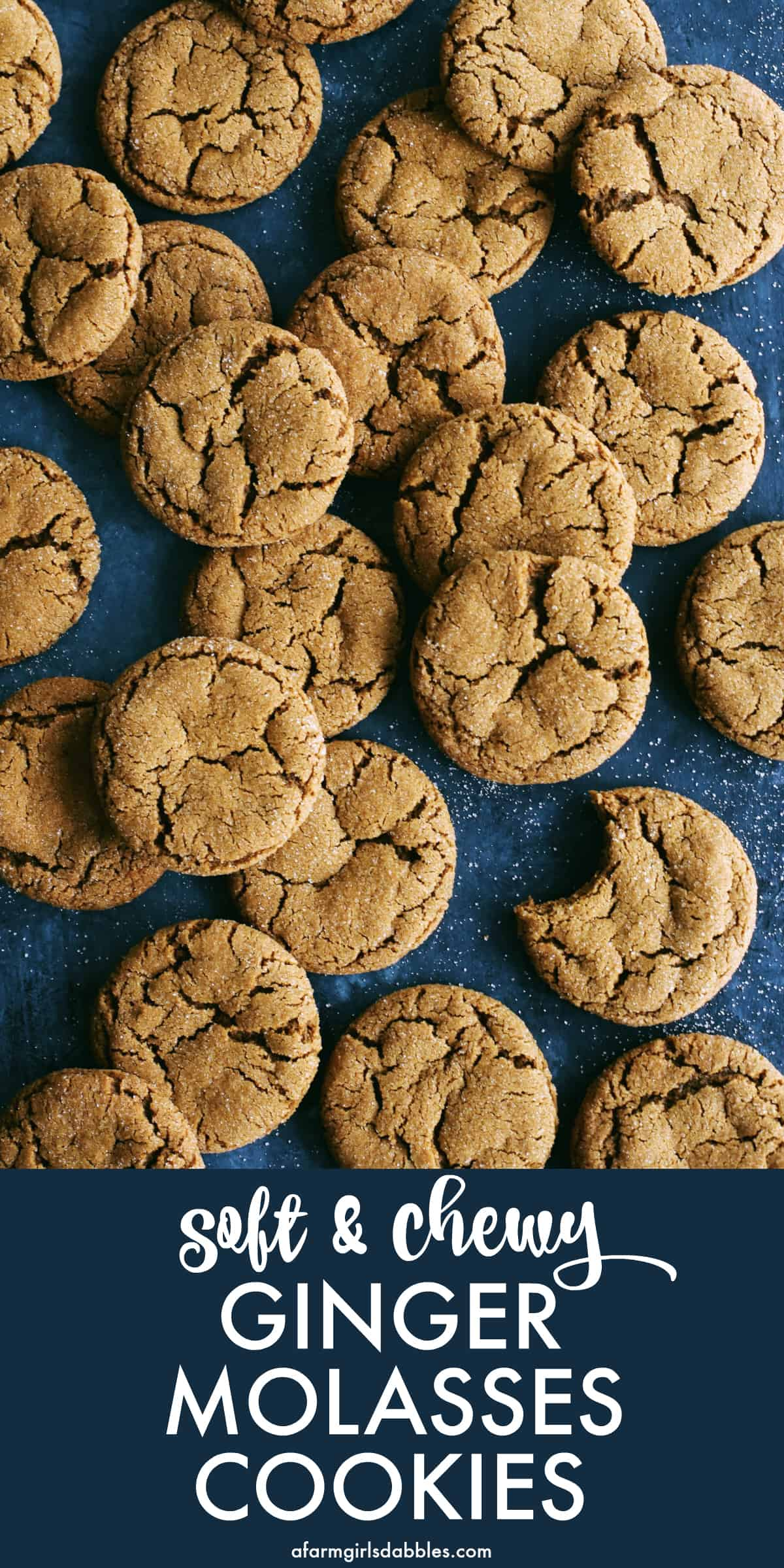pinterest image of chewy ginger molasses cookies