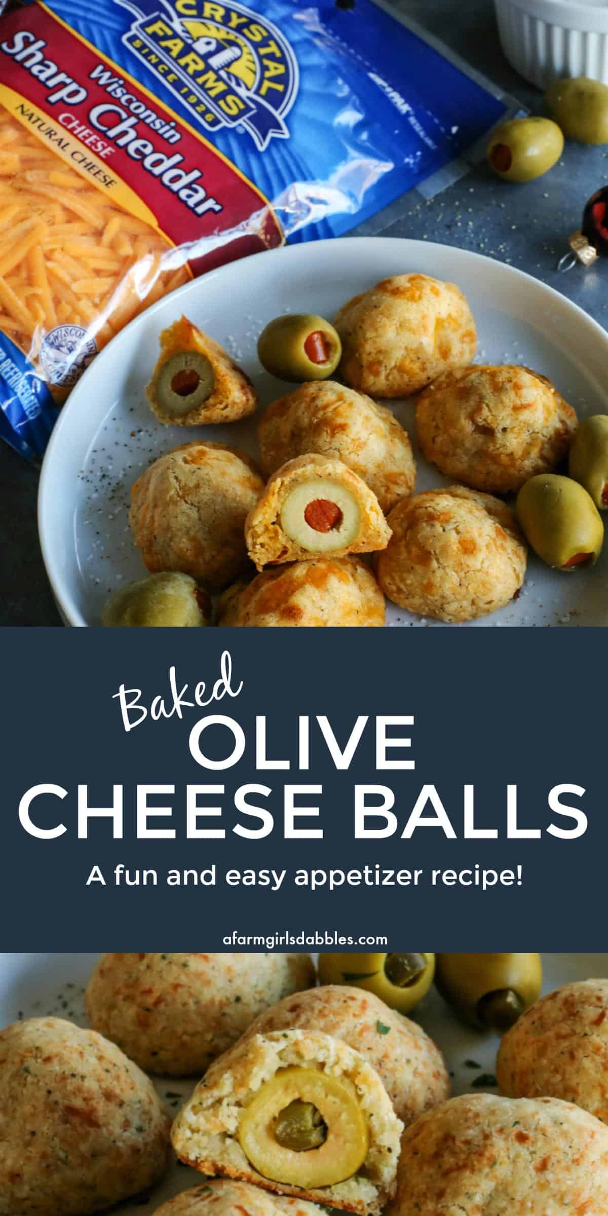 pinterest image of baked olive cheese balls on a plate - with a cup of buttermilk ranch dip and package of Crystal Farms Sharp Cheddar cheese on the side