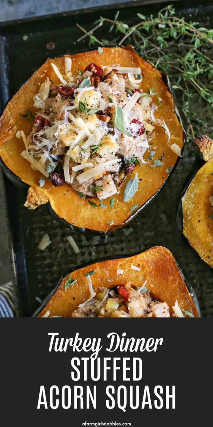 Turkey Dinner Stuffed Acorn Squash from afarmgirlsdabbles.com - An easy recipe to enjoy the traditional Thanksgiving flavors of turkey, dressing, and a side of sweet and tender squash, all in one dish! #turkey #thanksgiving #acorn #squash #stuffed #dressing #easy #recipe #stuffing