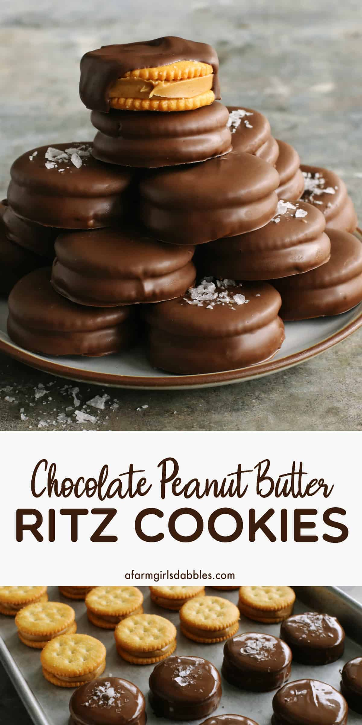 pinterest image of chocolate-dipped peanut butter Ritz cookies stacked on a plate