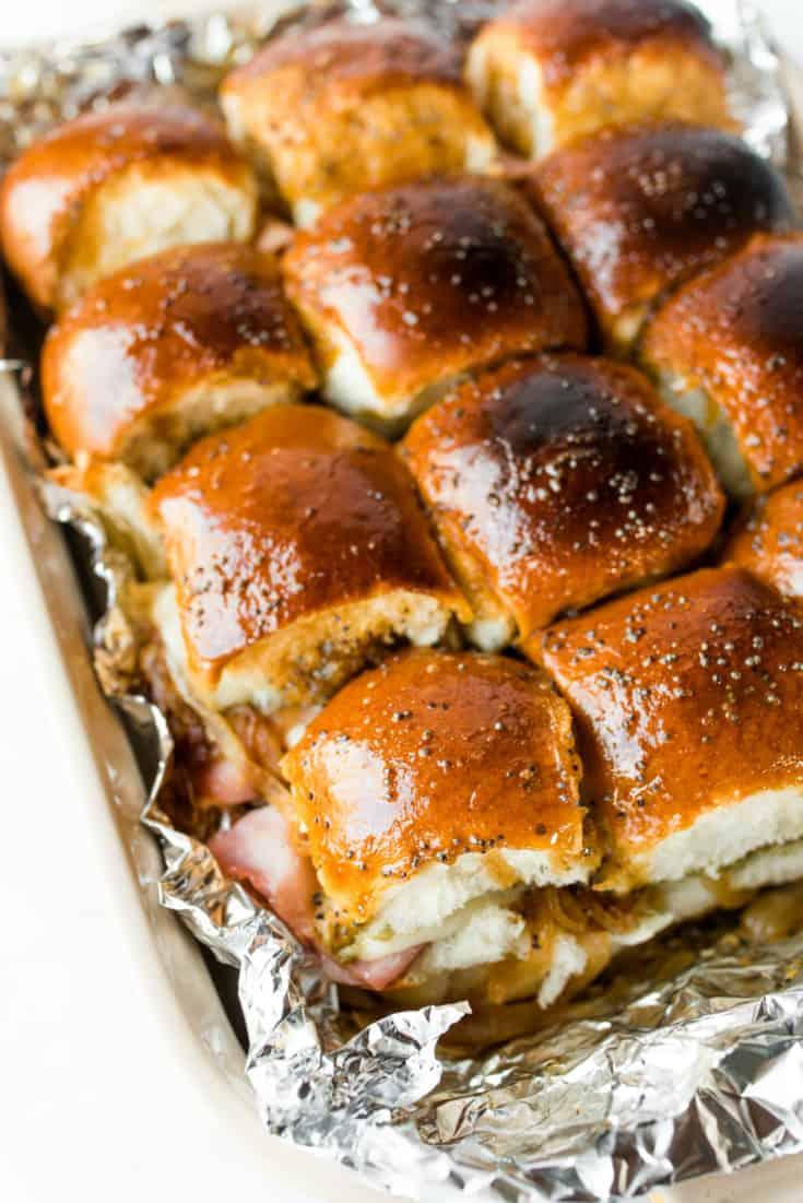 Ham Pesto Onion Cheese Poppyseed Sliders