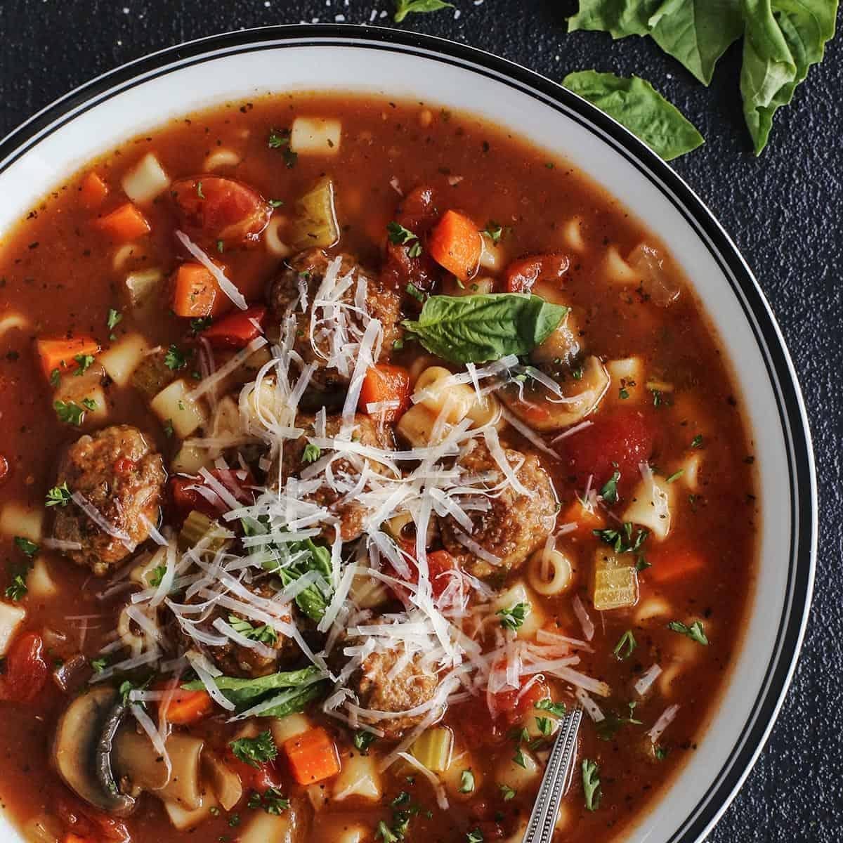 Italian meatball soup in a bowl
