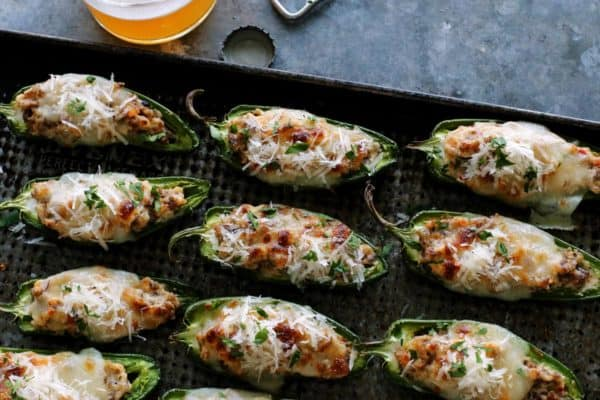 jalapeno poppers on a pan