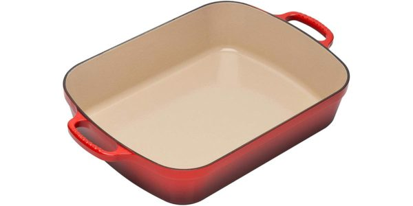 red Le Creuset roaster