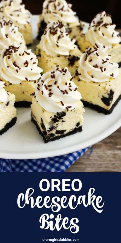pinterest image of Oreo cheesecake bites
