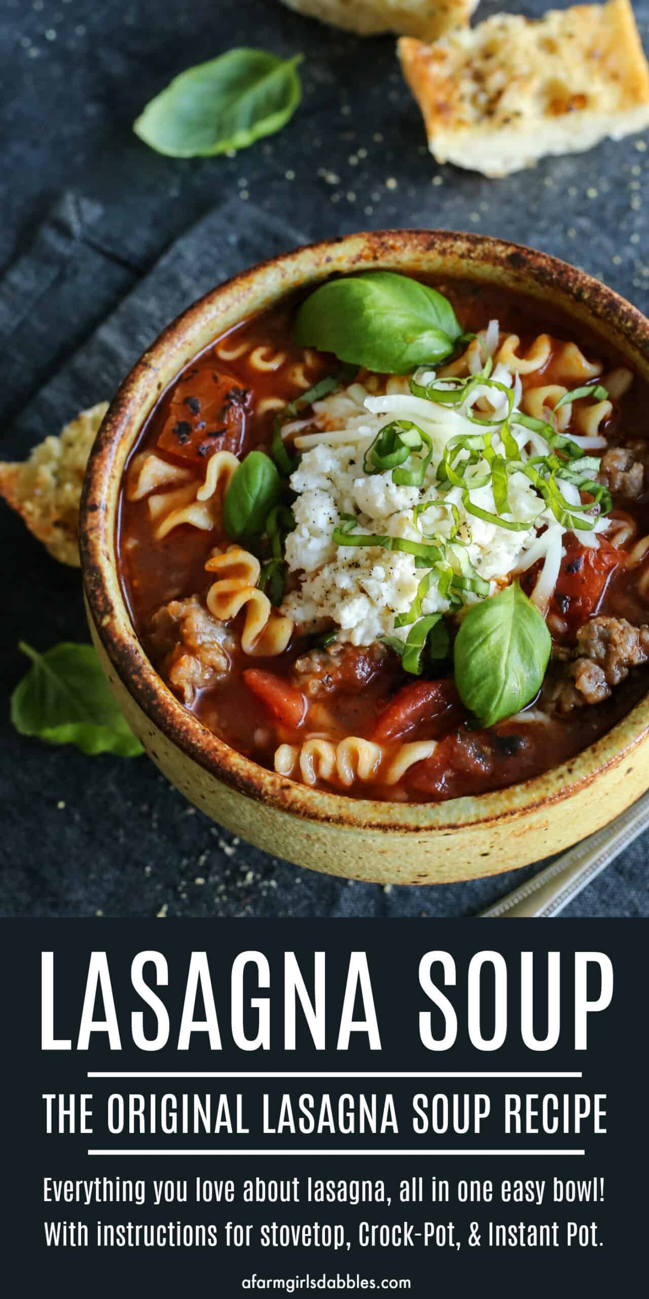 pinterest image of lasagna soup recipe