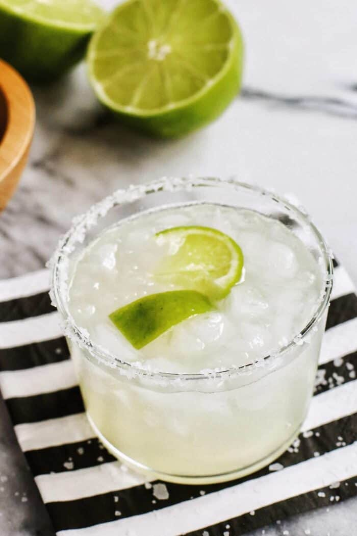 classic margarita cocktail in a salt rimmed glass