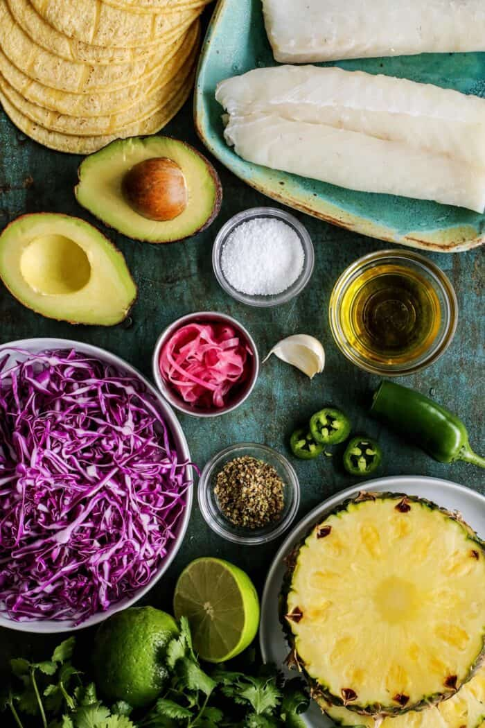 ingredients for fish tacos with pineapple