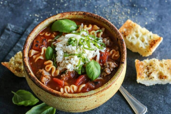 lasagna soup in a bowl