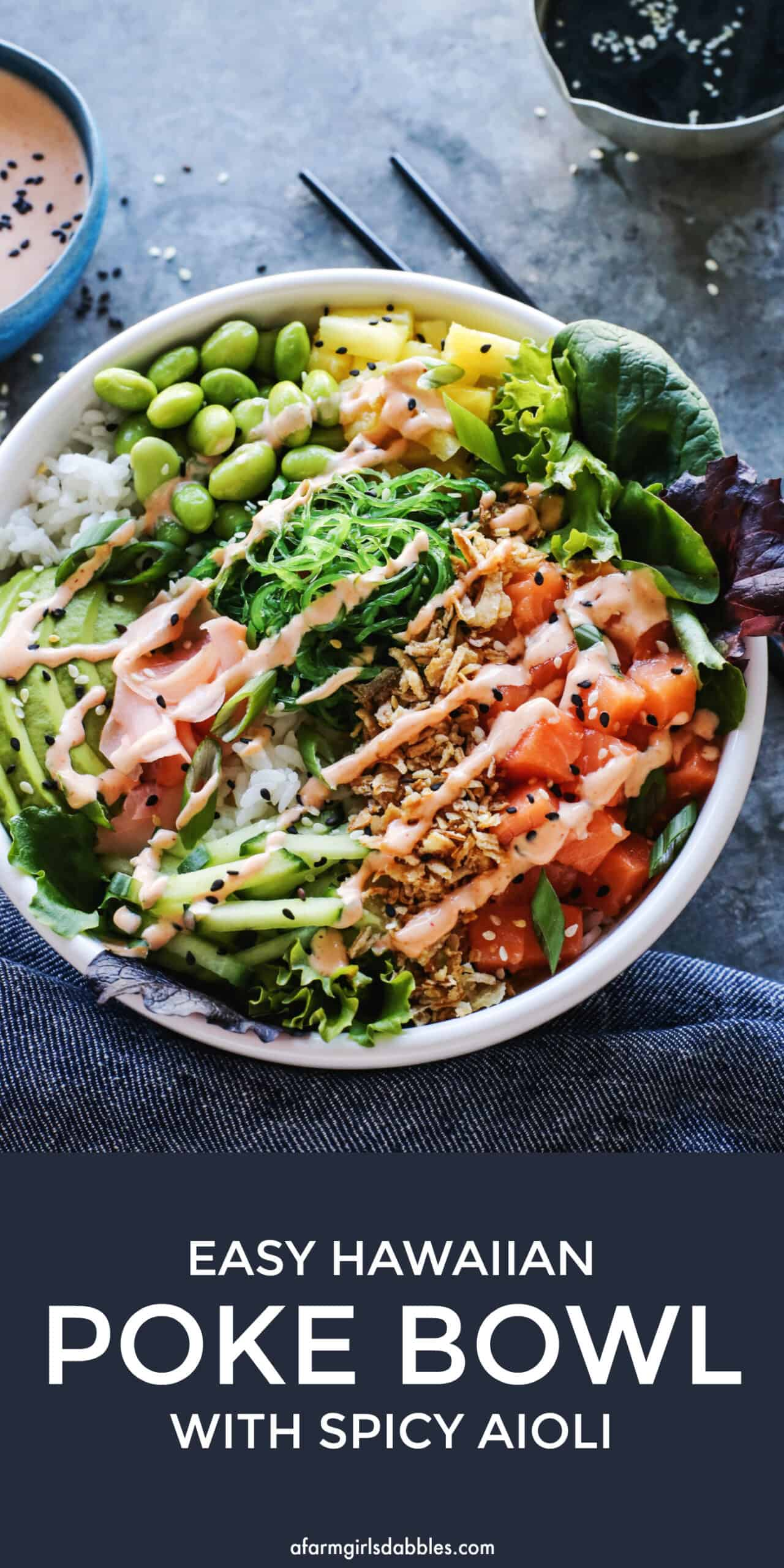 pinterest image of easy poke bowl with warm rice and cold salmon
