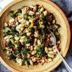 bowl of broccoli, beans, and bacon