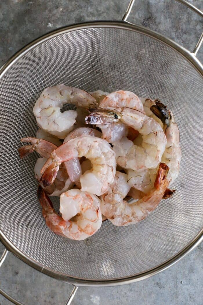 jumbo shrimp in colander