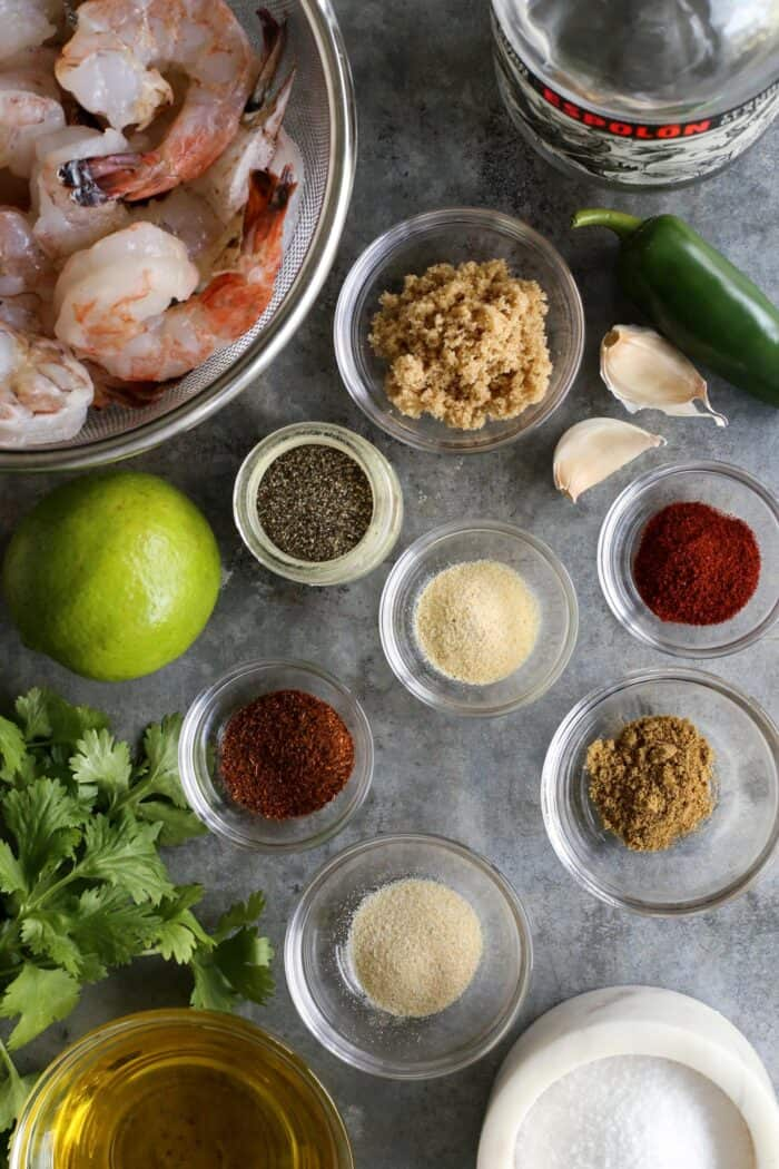 ingredients for margarita grilled shrimp