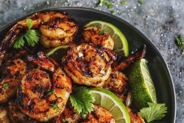 grilled shrimp with charred grill lines