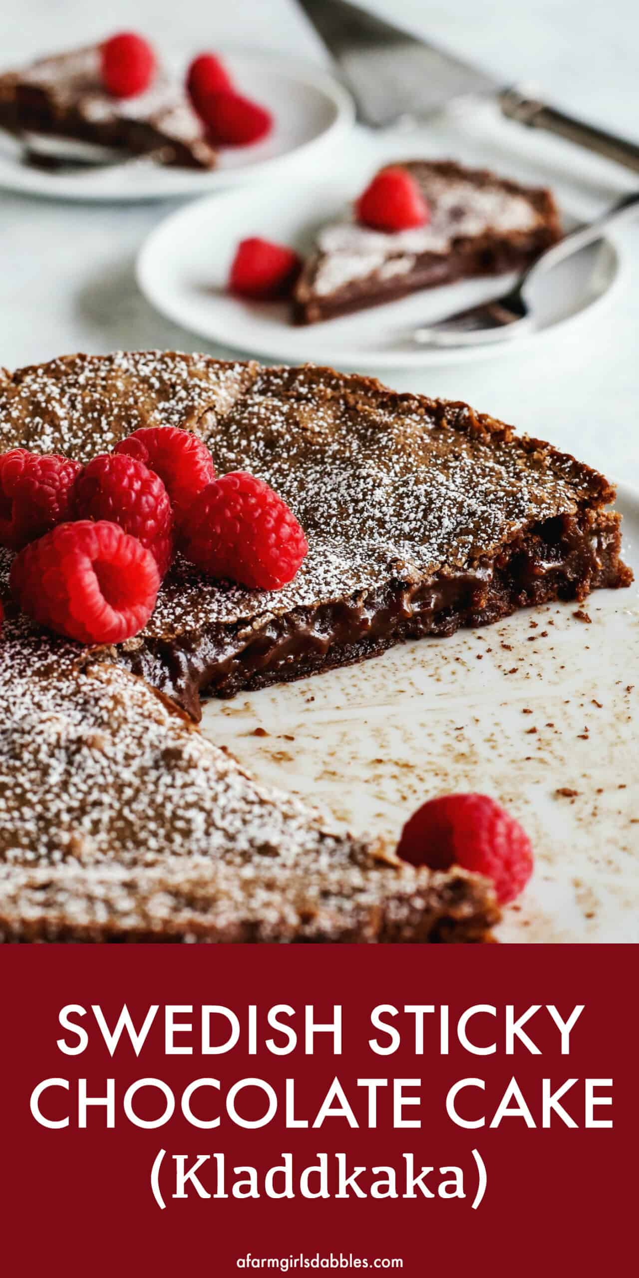 Pinterest image of Swedish Kladdkaka chocolate cake on white cake plate