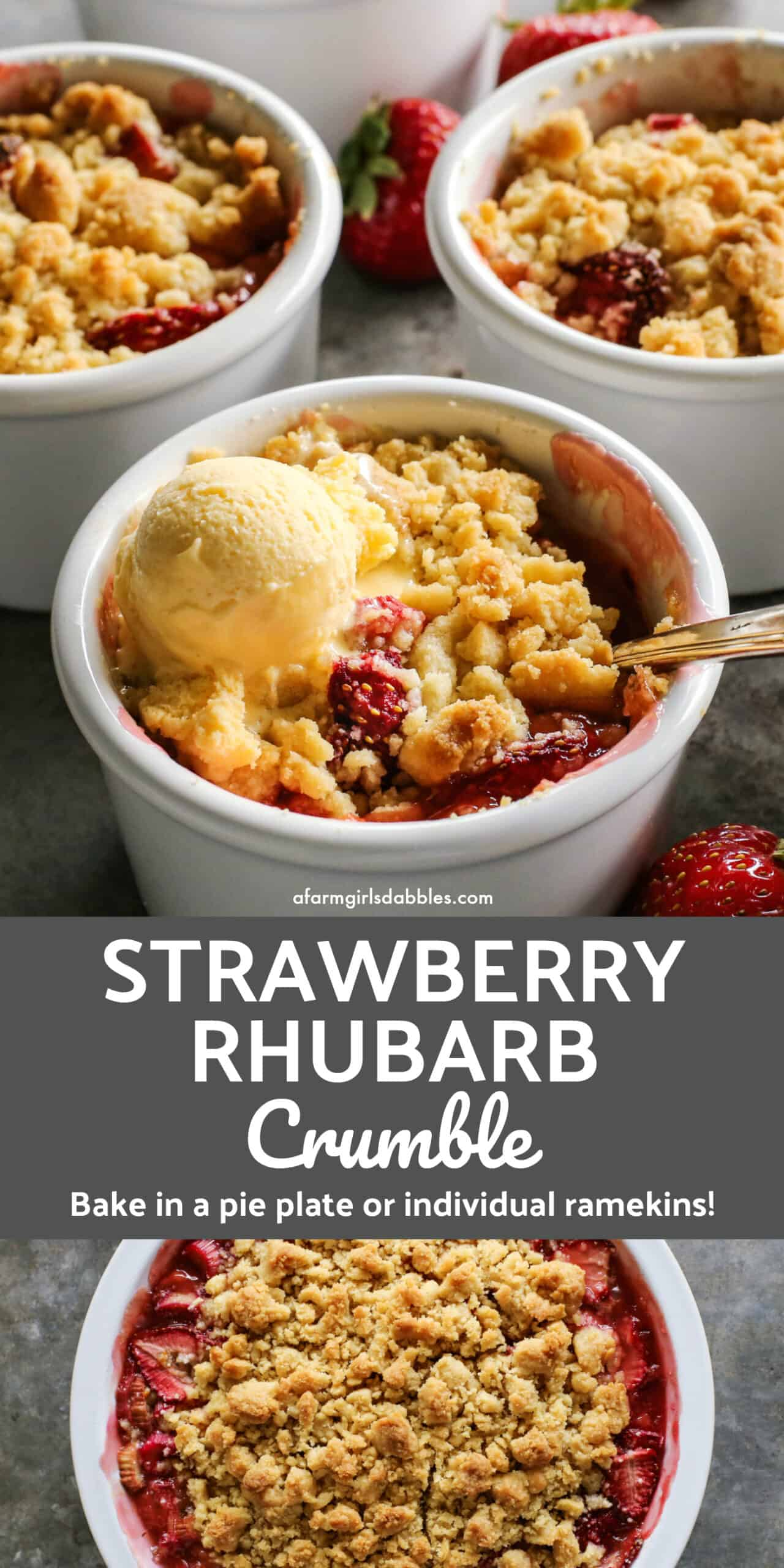 Pinterest image of Strawberry Rhubarb Crumble dessert