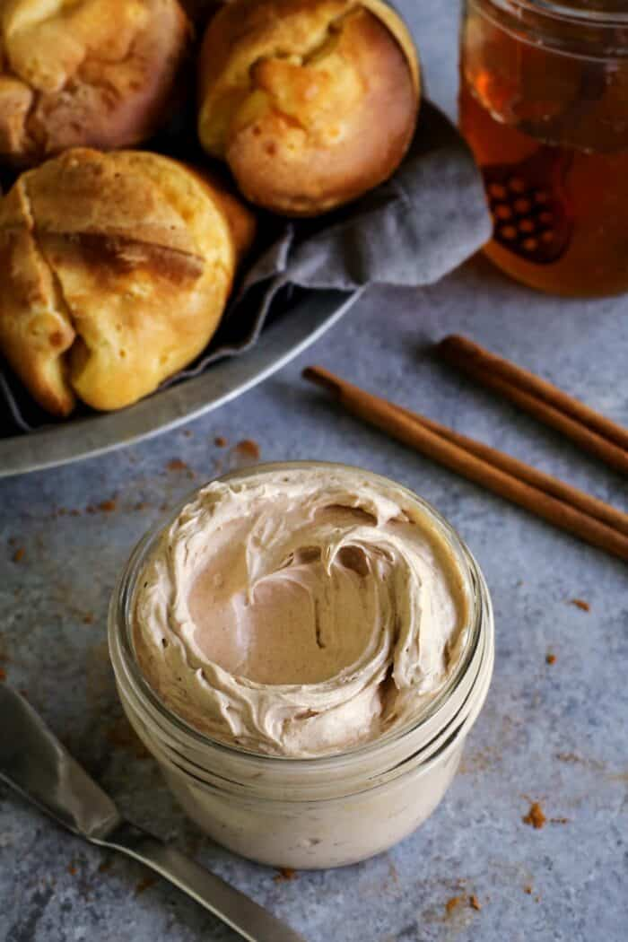 butter whipped with cinnamon and honey, plus a basket of popovers