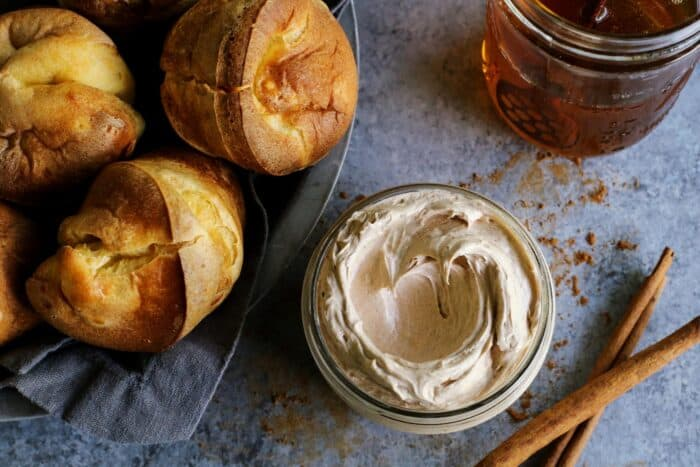 butter whipped with honey and cinnamon, plus a basket of popovers
