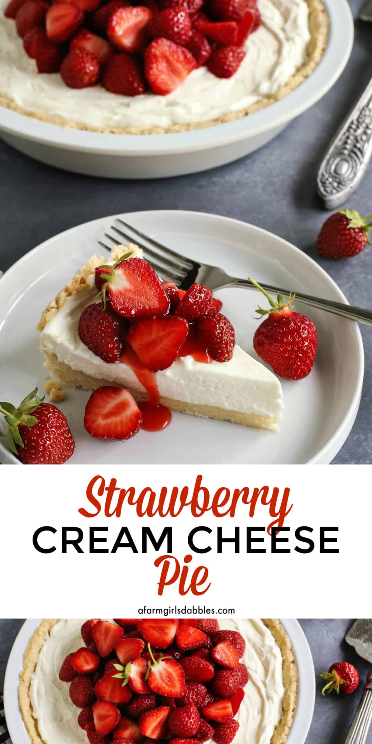 Pinterest image of strawberry cream cheese pie