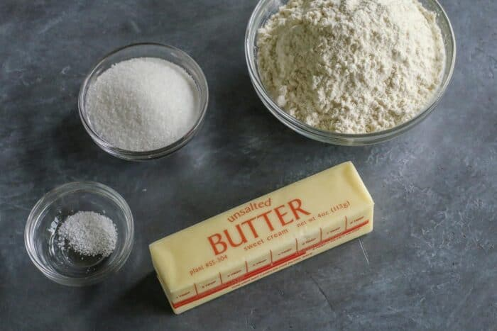 butter, flour, sugar, and salt