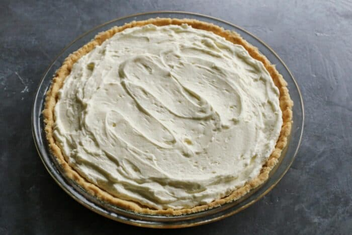 whippy cream cheese layer spread in baked pie crust