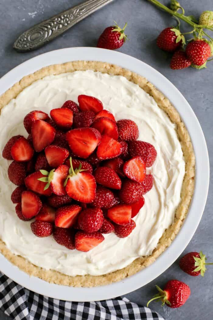 pie with cream cheese filling, topped with fresh strawberries