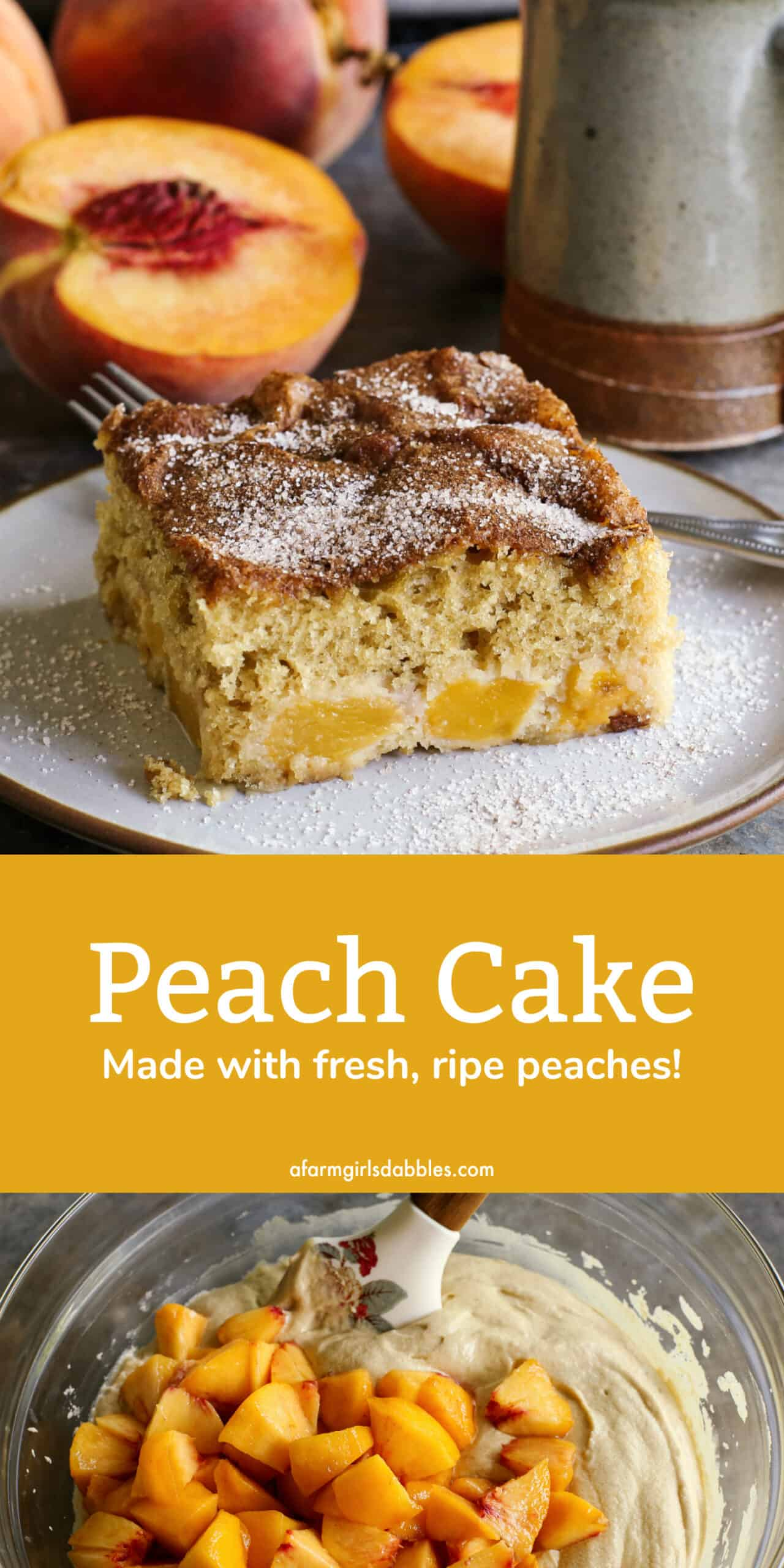 Pinterest image of peach cake
