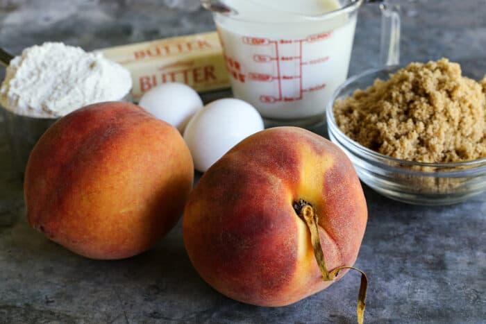 fresh peaches, flour, eggs, butter, buttermilk, and brown sugar