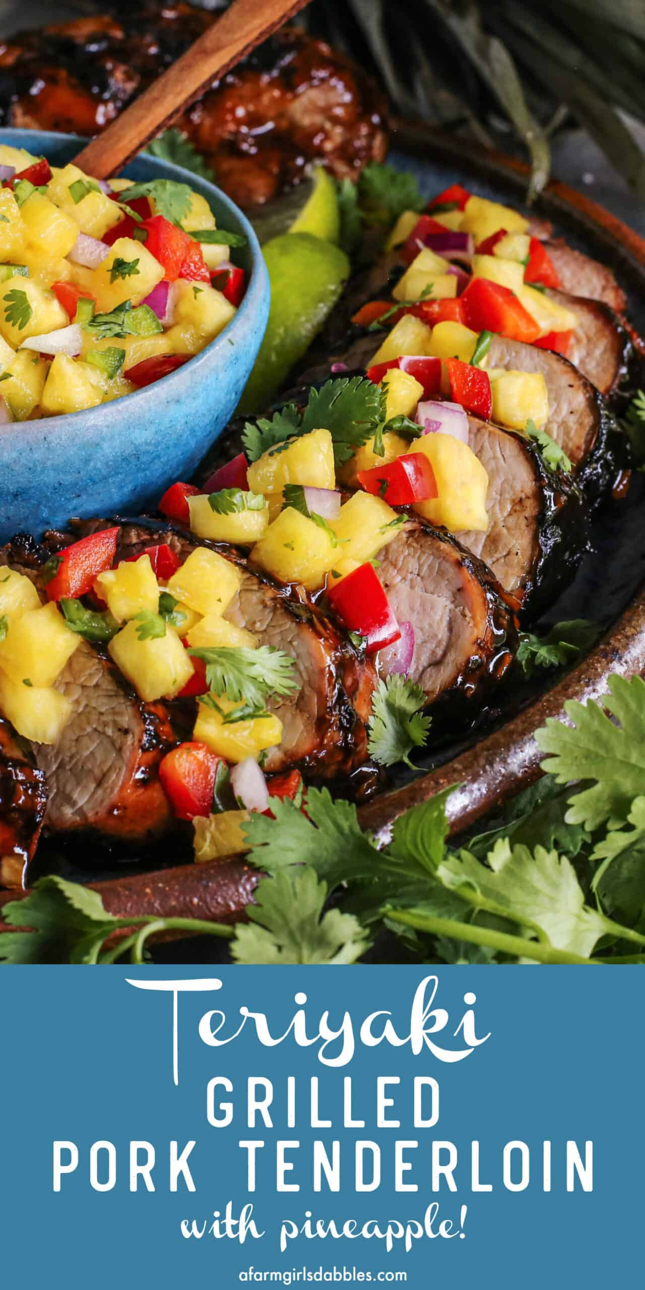 Pinterest image for teriyaki grilled pork tenderloin