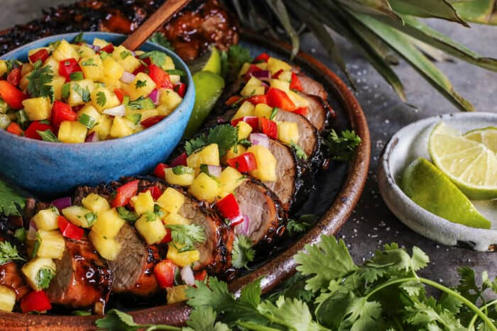grilled pork tenderloin with teriyaki marinade, plus pineapple salsa