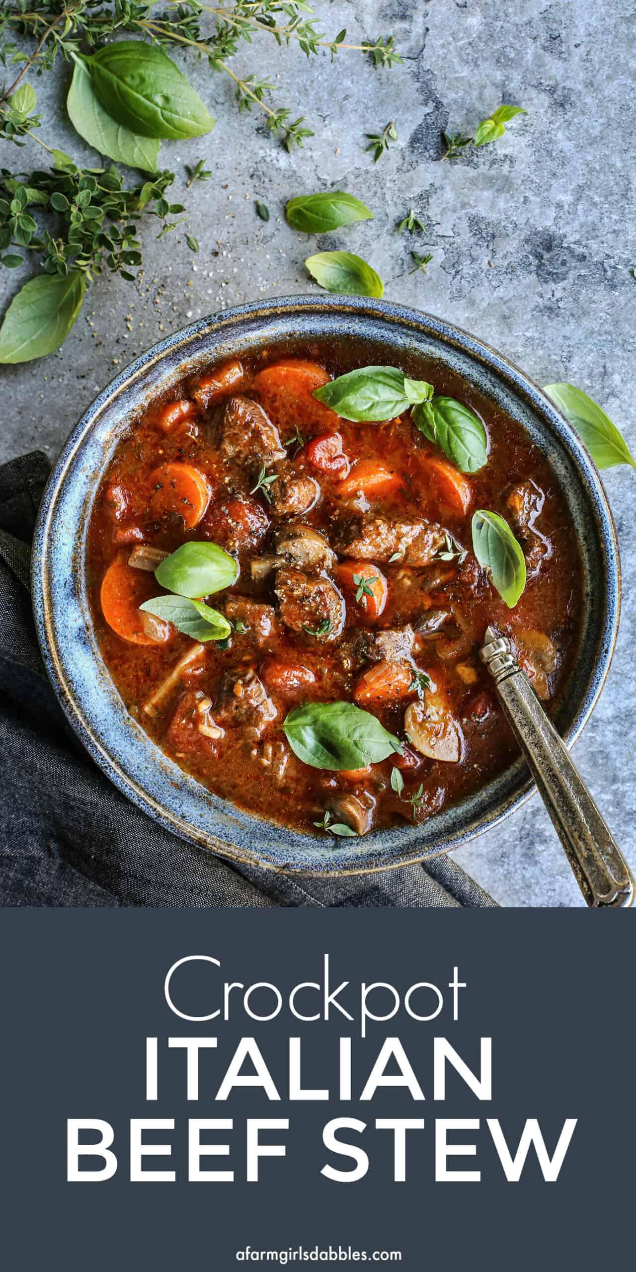 Pinterest image of Crockpot Italian Beef Stew