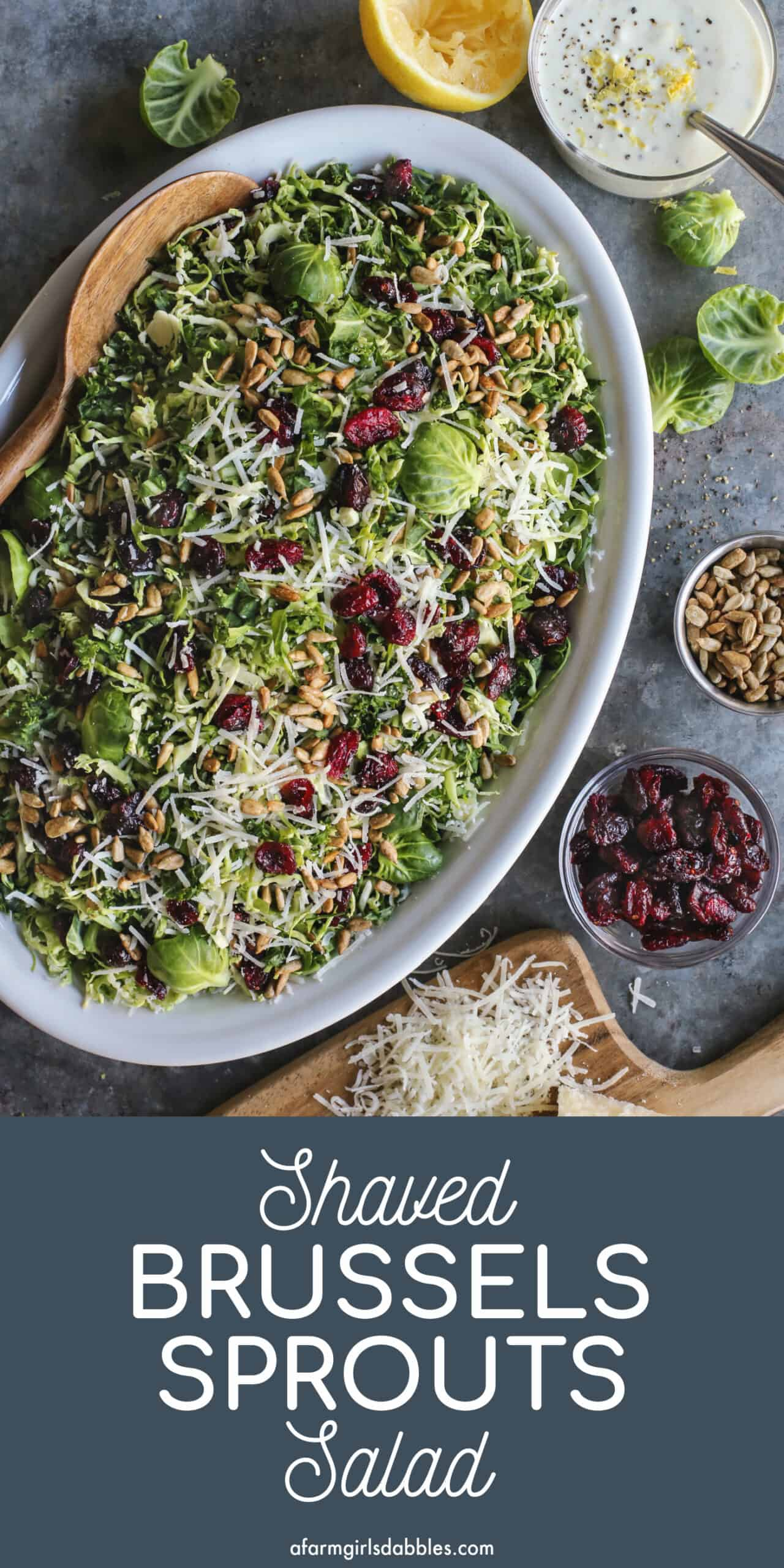 Pinterest image for Shaved Brussels Sprouts Salad
