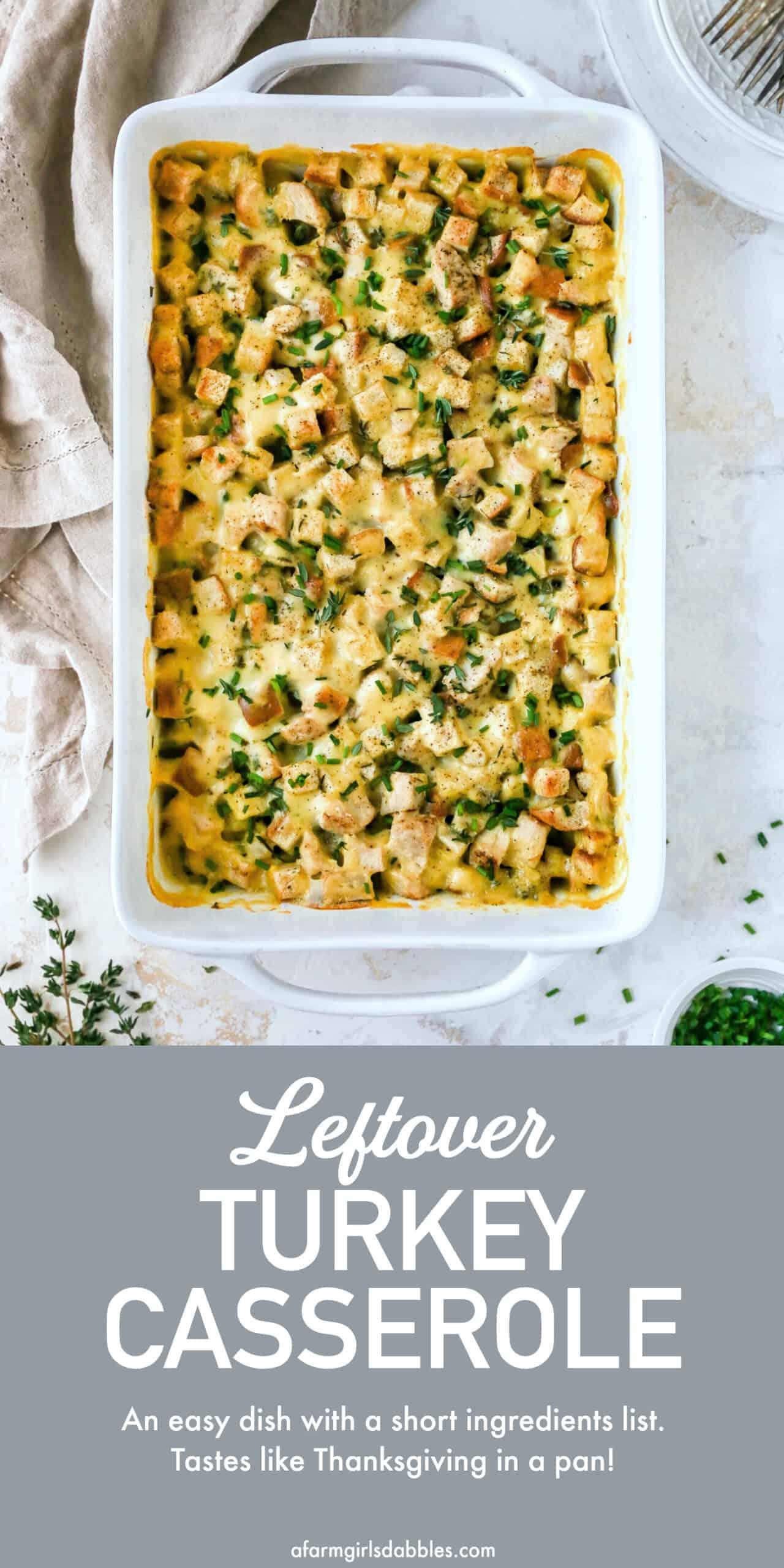Pinterest image for leftover turkey casserole