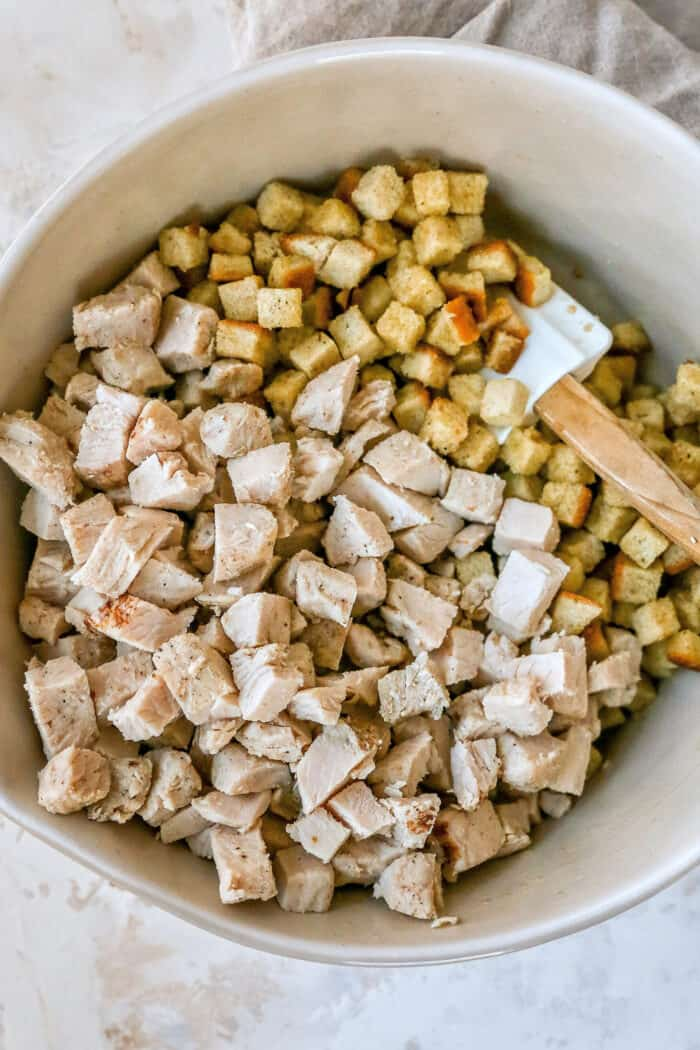 turkey and cubed stuffing in a bowl